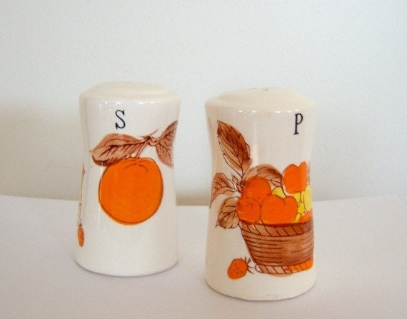Vintage Autumn Salt and Pepper Shakers
