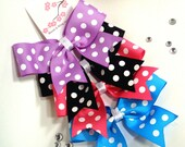 Girls Classic Hair Bow - Dots Classic Bows Set of 4 - Large - Dots, Hot Pink, Purple, Electric Blue, Black, White