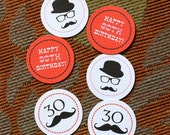 Mustache Party Circles - PRINTABLE