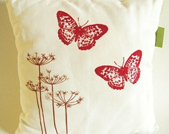 """Queen's Anne Lace in Copper Color with Red Butterflies/ Handprinted Pillow Cover / Organic Linen/ 16""""x16""""/ Made To Order"""