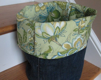 Denim and floral Fabric Storage Bucket Caddy Bin Basket Organizer