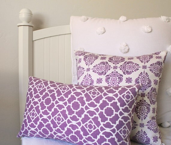 Purple Pillow Cover 12x20 Moroccan Nursery Decorative Throw Cushion, Reversible - Two Splendid Looks in One Cover - Lucky Violet Collection