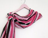 Retro Striped Silk Scarf, Romantic Wedding, For Mom , Pose, Orchid, magenta, pink