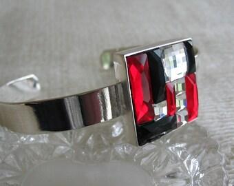 Swarovski Siam and Jet Mosaic Color Block Bracelet
