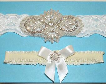 Ivory Cream Wedding Garter Set, Ivory Stretch Lace Bridal Garter Set, Heirloom Rhinestone And Pearl Garters, Crystal Garters - Ready To Ship