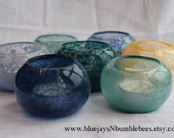 blown glass votive candleholder. in aqua, red, mango, teal, green, cobalt, or lavender
