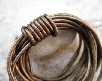 Leather Cord Round - 2mm - Metallic Kansa - By the Yard