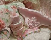 SHABBY CHIC PINK Cherub Shelf  Romantic Style Home Decor Princess  French Market Ooh La La