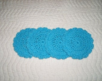 Bright teal aqua crochet coasters (4)