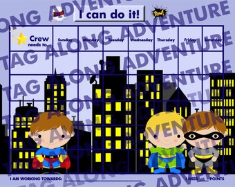 PRINTABLE Personalized Children's Reward Chart - Boy Super Hero