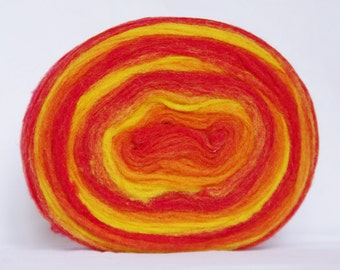 Self Striping Chunky Wool Pencil Roving, Wool Roving Fiber, Excellent Quality, Red Yellow Orange