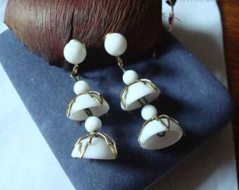 Dangle Vintage Milk Glass Earrings