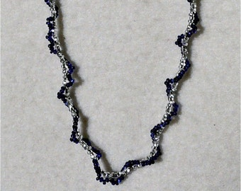 Silver and Cobalt Beaded Necklace