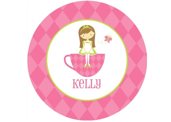 Personalized Girls Melamine Plate or Bowl- Tea Party/ Girl with Brown Hair