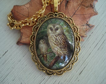 Owl Totem Pendant Necklace Forest Woodland Two Owls Pair