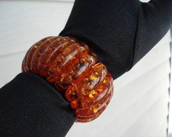 Golden Honey Amber Topaz Stretch Bracelet 8 inches
