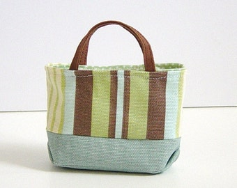 MNF/Minifee/Unoa/Slim MSD Large Canvas Baby Blue & Striped Tote Bag