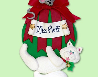 White Christmas KITTY CAT  Hanging on Ornament HANDMADE Polymer Clay Personalized Christmas Ornament