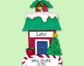 School House Teacher / School  HANDMADE POLYMER CLAY Personalized Christmas Ornament