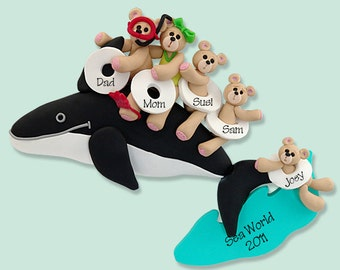 Belly Bear Family of 5 on Whale POLYMER CLAY Personalized Christmas Ornament