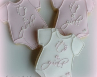 Baby cookies - It's A Girl One Piece Baby Outfit cookies - 1 dozen