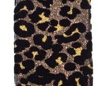For IPHONE 5 Glitter Velvet Leopard Hard Protection Cover Case