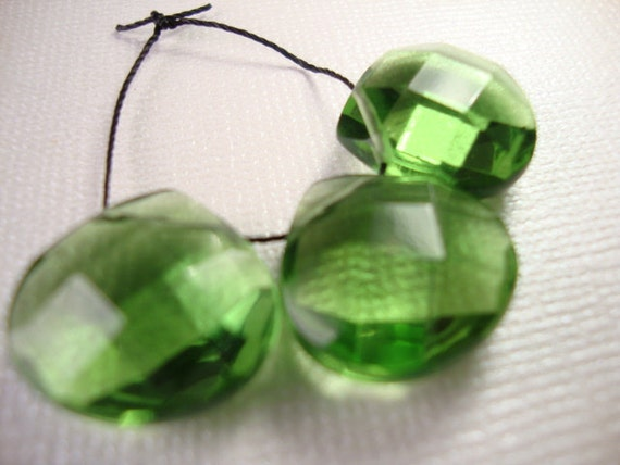 Hydro Green Quartz Faceted Heart Briolettes- 3 Briolettes