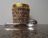 Ice cream cozy - pint size  - made to order - rose garden