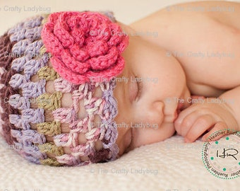 Girls hat with big flower - size newborn to 3 months - made to order