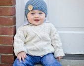 Crocheted 100% Cotton Baby Button Hat - 0-3 Months - Blue - Ready to Ship