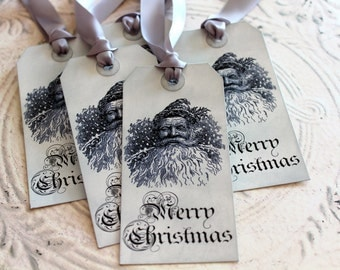 Vintage Inspired Holiday Gift Tags - Vintage Santa - Set of 5