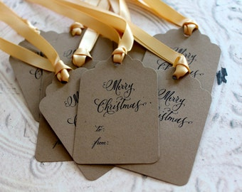 Vintage Inspired Holiday Gift Tags - Merry Christmas - Set of 6