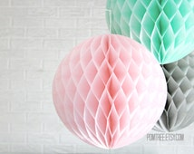 paper party decor ... honeycomb lantern ... candy table buffet tablescape // weddings // birthday party // baby shower // nursery