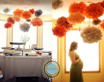 Paper pom poms party decor - 12 Poms DIY KIT ... Pick Your Colors