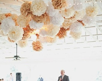 wedding decor, rustic wedding decorations, tissue paper poms, shabby chic neutrals, custom colors, reception party dancefloor tent marquee