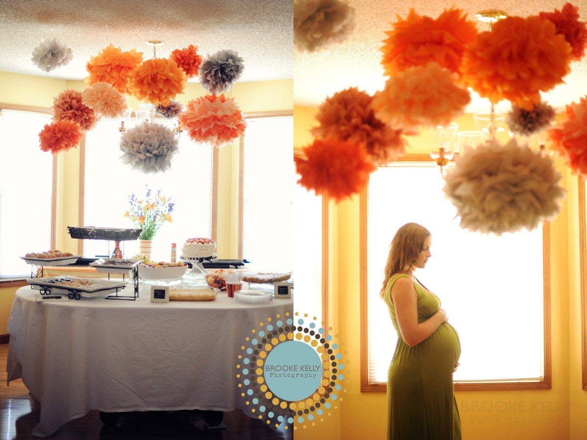 paper pom poms party decor 12 poms diy kit     pick your