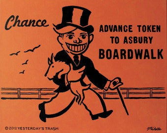 Monopoly-Style Chance Card - Advance Token To Asbury Boardwalk - Print From My Original Painting