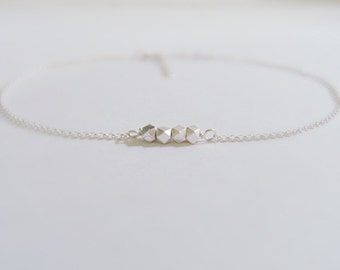 Four nuggets (anklet) - Tiny sterling silver nuggets