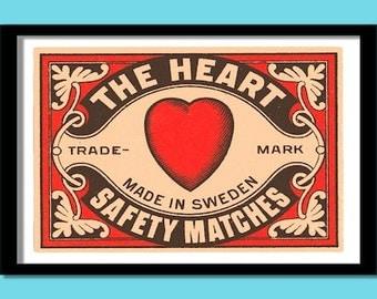 Vintage Heart print. Matchbox label art. A3 size. 40x30 cm. Vintage label prints. Swedish labels. Label art. Heart print.