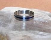 Titanium Thin Blue Line Ring Wedding Band