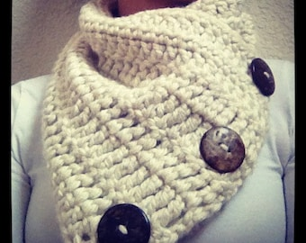 Crochet Cowl with Coconut Buttons