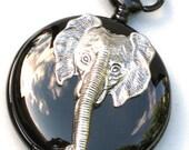Steampunk - ELEPHANT Pocket Watch Pendant - Necklace - Jet Black - Antque Silver - GlazedBlackCherry