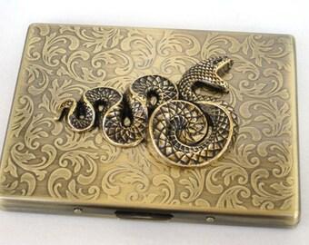 Steampunk - Metal SNAKE Cigarette Case - Slim Wallet - Large Card Case - Antique Brass By GlazedBlackCherry S1