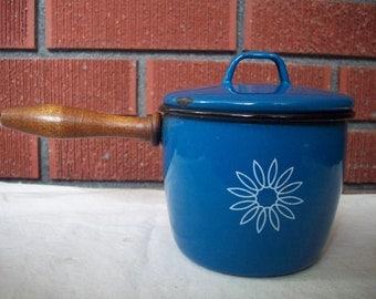 Vintage Blue Enamelware Pot