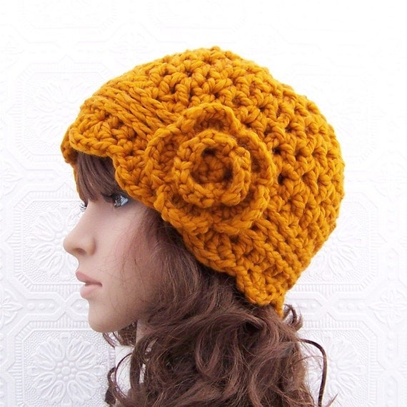 Crocheted Cloche Hat - honey gold, butterscotch - winter fashion women's accessories Fashion  handmade Sandy Coastal Designs