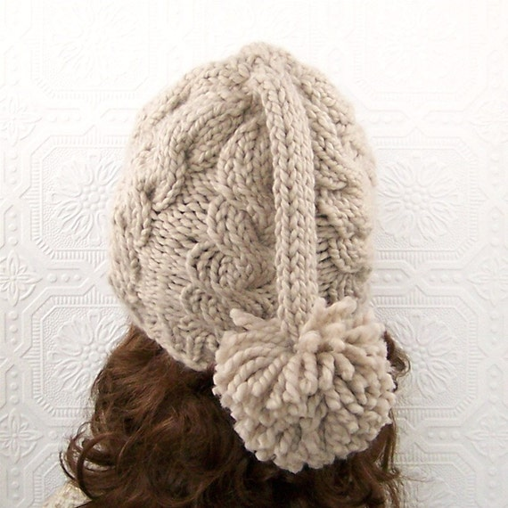 Instant download knitting pattern - adult hat, beanie - knit long tail pompom...