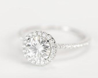 CERTIFIED - Forever Brilliant Enhanced Round Moissanite & Diamond Engagement Ring 14K White Gold