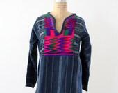 70s Tunic Top // Embroidered Indigo