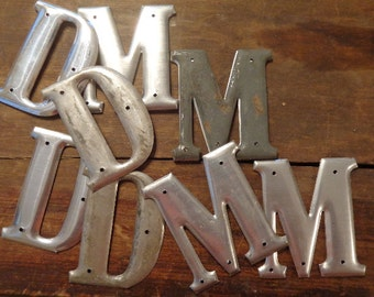 Vintage M or D Letterpress Style LG Metal Letter, 1 for signs, MD, doctor, keepsake gift tags cards table decor mat silver hue 3 D Embossed