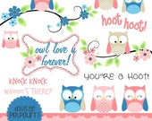 buy2get1 owl clipart set - hoot hoot set 1